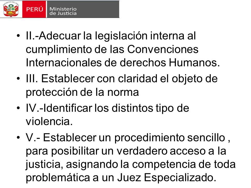 II.-Adecuar la legislación interna al cumplimiento de las Convenciones Internacionales de derechos Humanos.