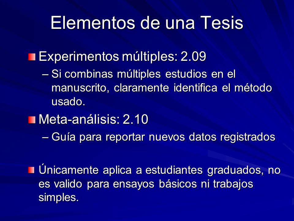 Elementos de una Tesis Experimentos múltiples: 2.09
