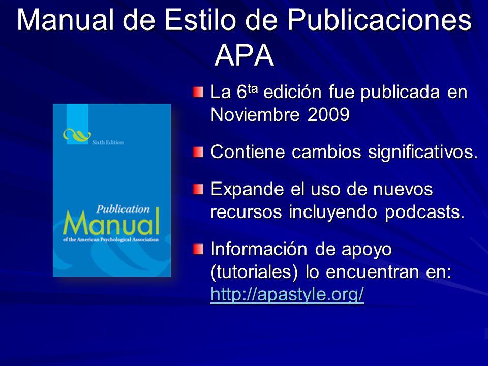 Manual de Estilo de Publicaciones APA