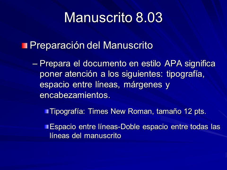 Manuscrito 8.03 Preparación del Manuscrito