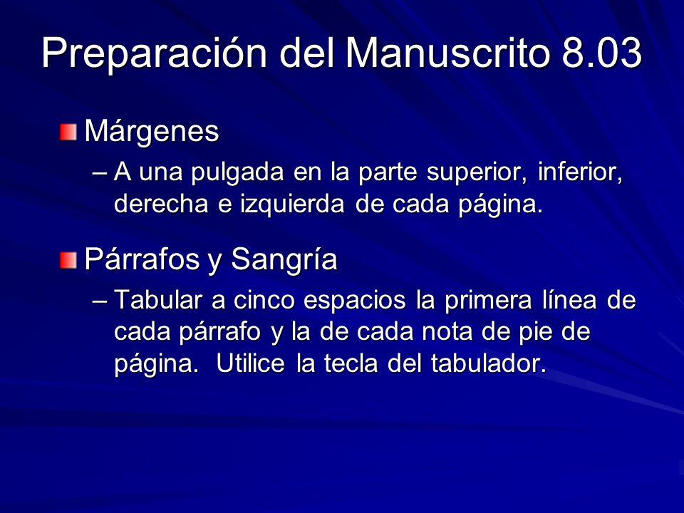 Preparación del Manuscrito 8.03