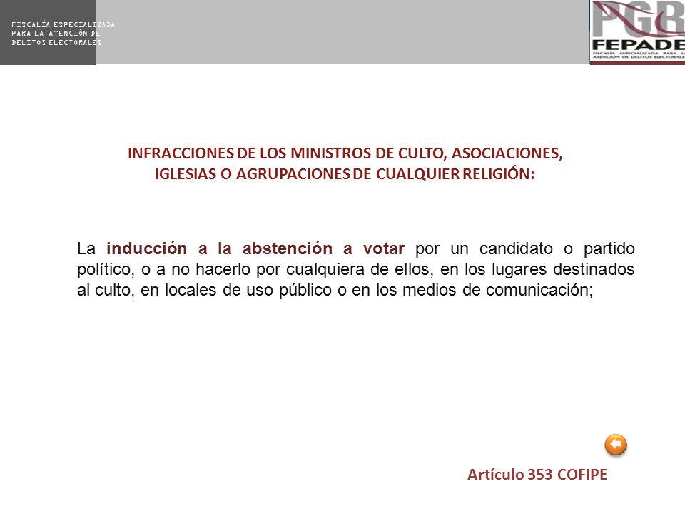 INFRACCIONES DE LOS MINISTROS DE CULTO, ASOCIACIONES, IGLESIAS O AGRUPACIONES DE CUALQUIER RELIGIÓN: