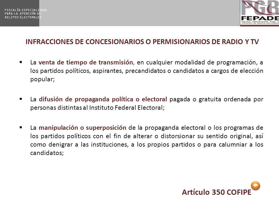 INFRACCIONES DE CONCESIONARIOS O PERMISIONARIOS DE RADIO Y TV