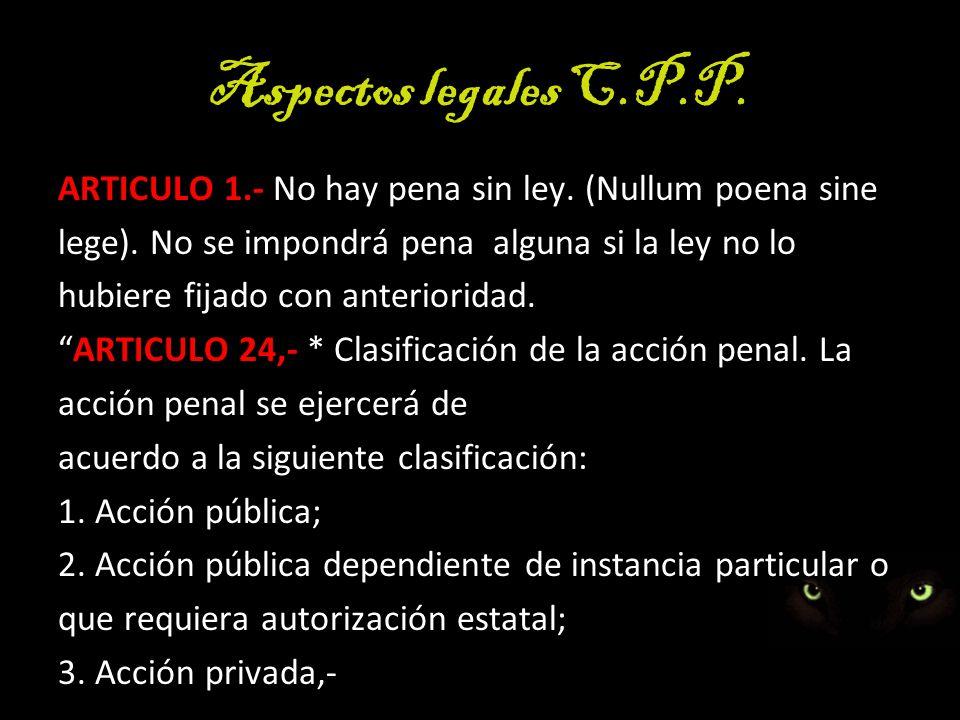 Aspectos legales C.P.P. ARTICULO 1.- No hay pena sin ley. (Nullum poena sine. lege). No se impondrá pena alguna si la ley no lo.