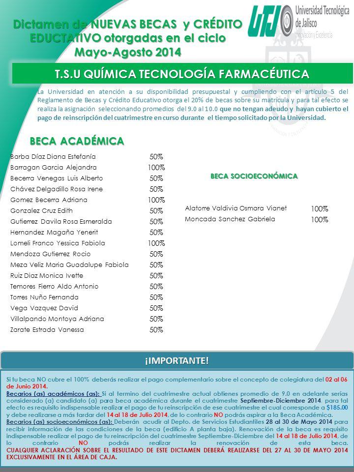 T.S.U QUÍMICA TECNOLOGÍA FARMACÉUTICA