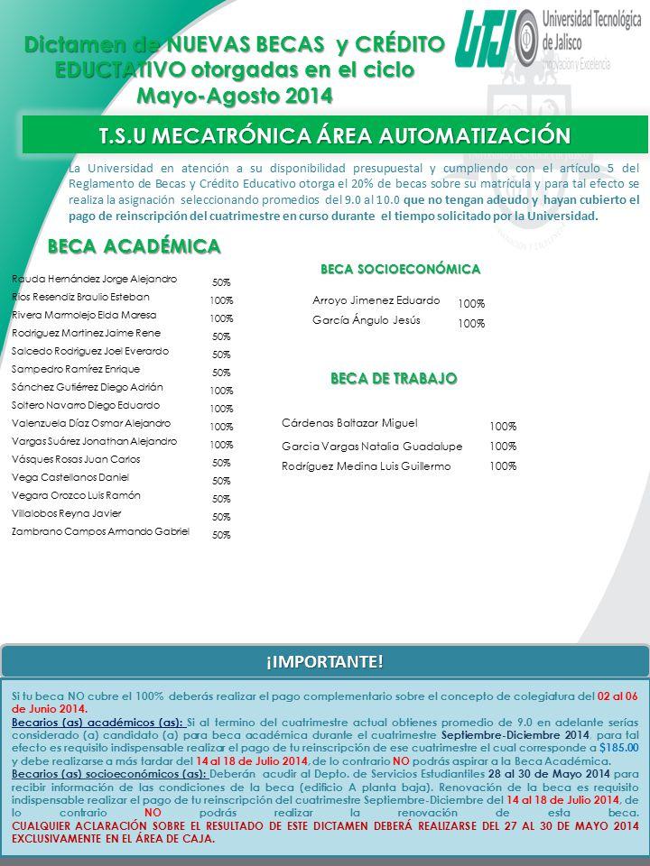 T.S.U MECATRÓNICA ÁREA AUTOMATIZACIÓN