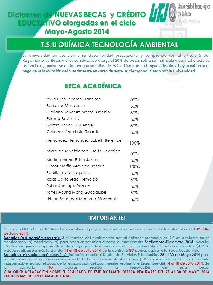T.S.U QUÍMICA TECNOLOGÍA AMBIENTAL