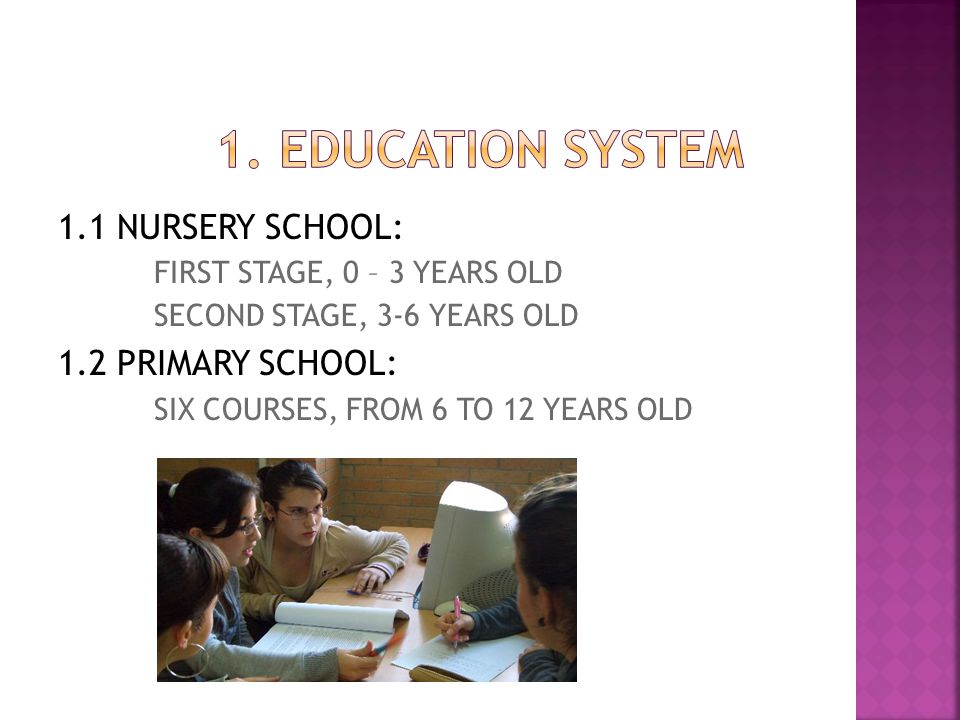 1. EDUCATION SYSTEM 1.1 NURSERY SCHOOL: 1.2 PRIMARY SCHOOL: