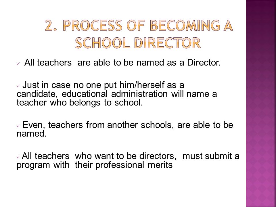 2. PROCESS OF BECOMING A SCHOOL DIRECTOR