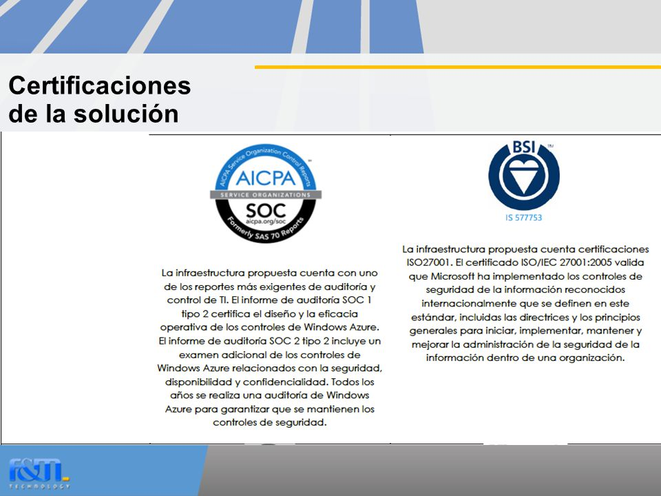 Certificaciones de la solución