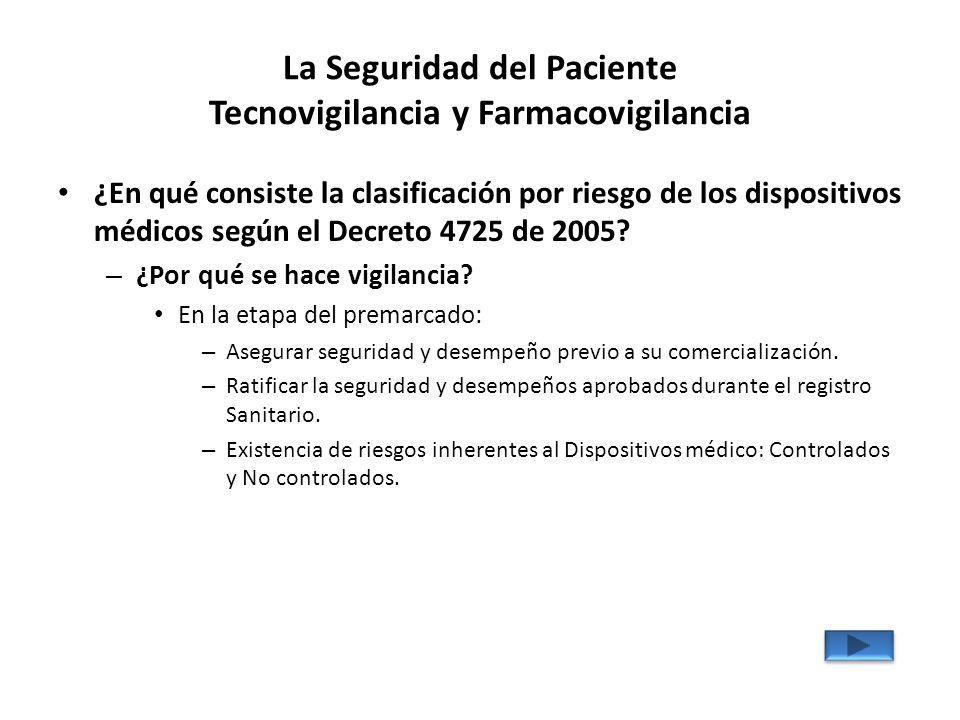 La Seguridad del Paciente Tecnovigilancia y Farmacovigilancia