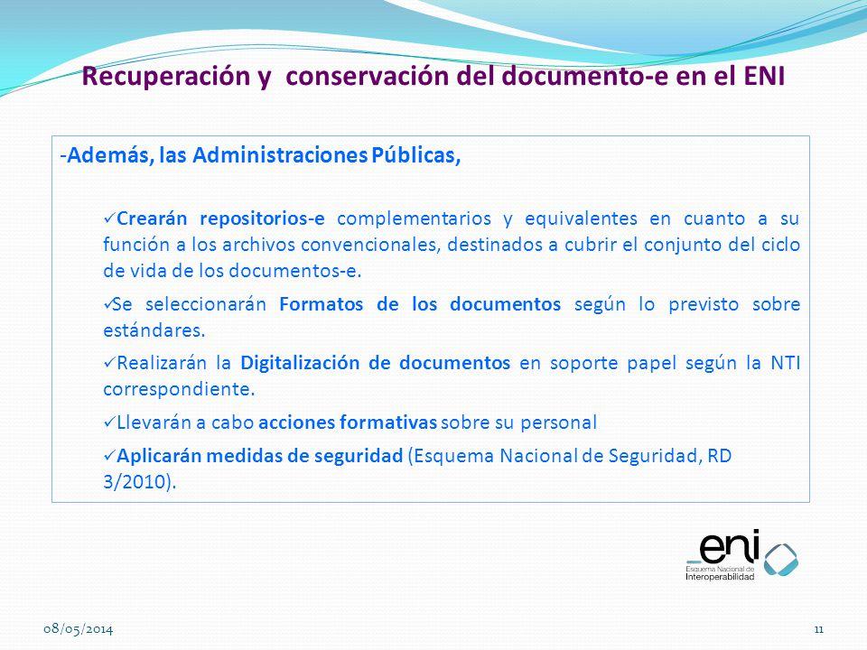 Recuperación y conservación del documento-e en el ENI
