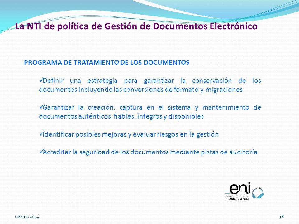 La NTI de política de Gestión de Documentos Electrónico