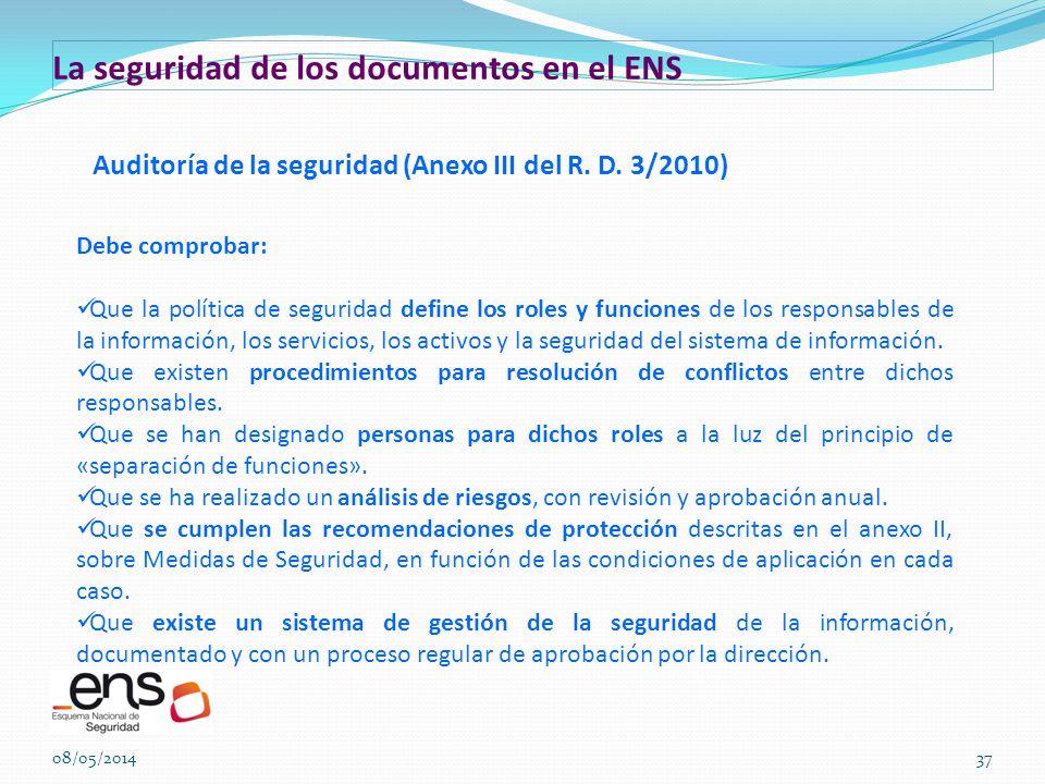 La seguridad de los documentos en el ENS
