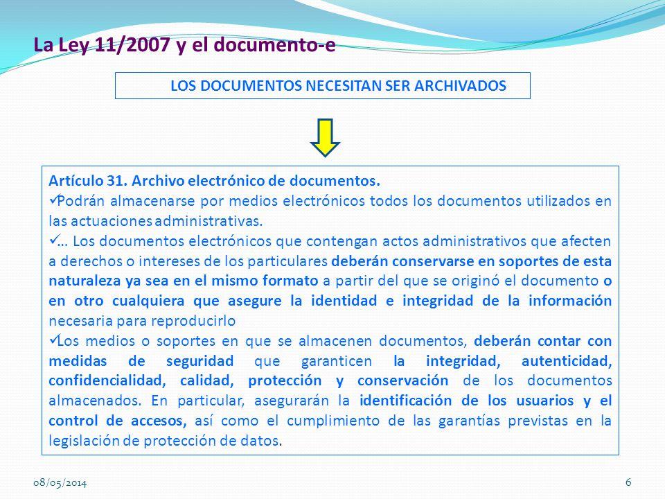 La Ley 11/2007 y el documento-e