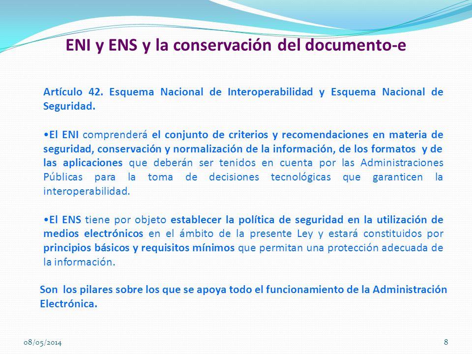 ENI y ENS y la conservación del documento-e