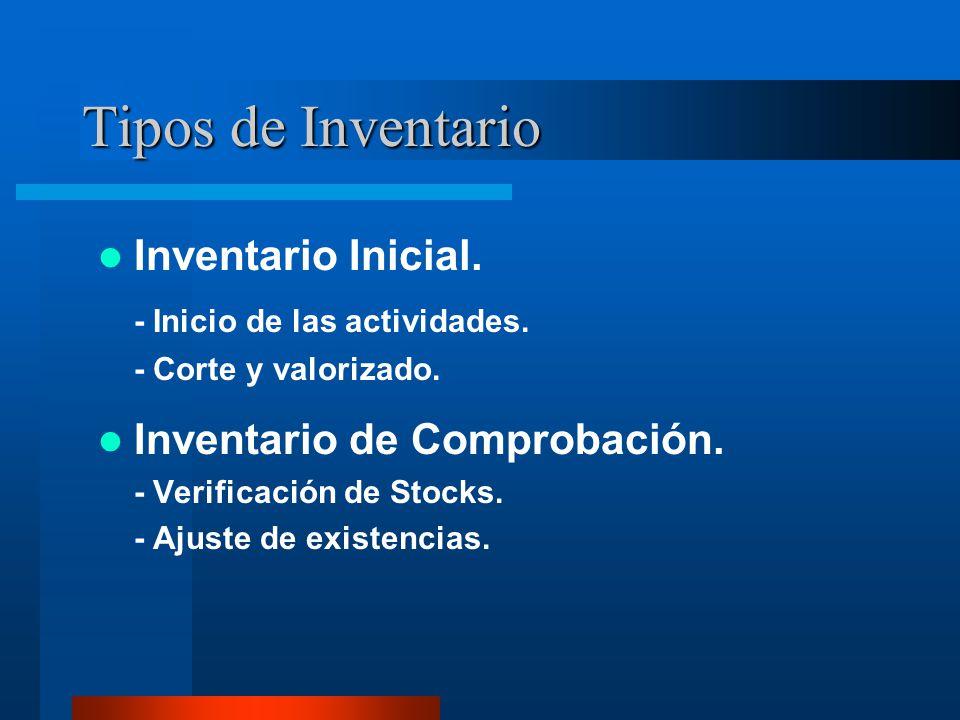 Tipos de Inventario Inventario Inicial. - Inicio de las actividades.