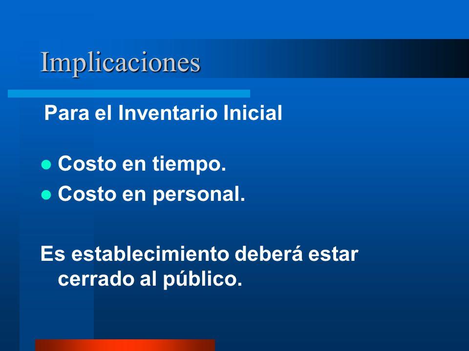 Implicaciones Para el Inventario Inicial Costo en tiempo.