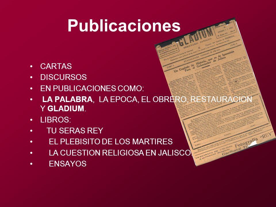Publicaciones CARTAS DISCURSOS EN PUBLICACIONES COMO: