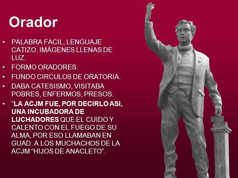Orador PALABRA FACIL, LENGUAJE CATIZO, IMÁGENES LLENAS DE LUZ.