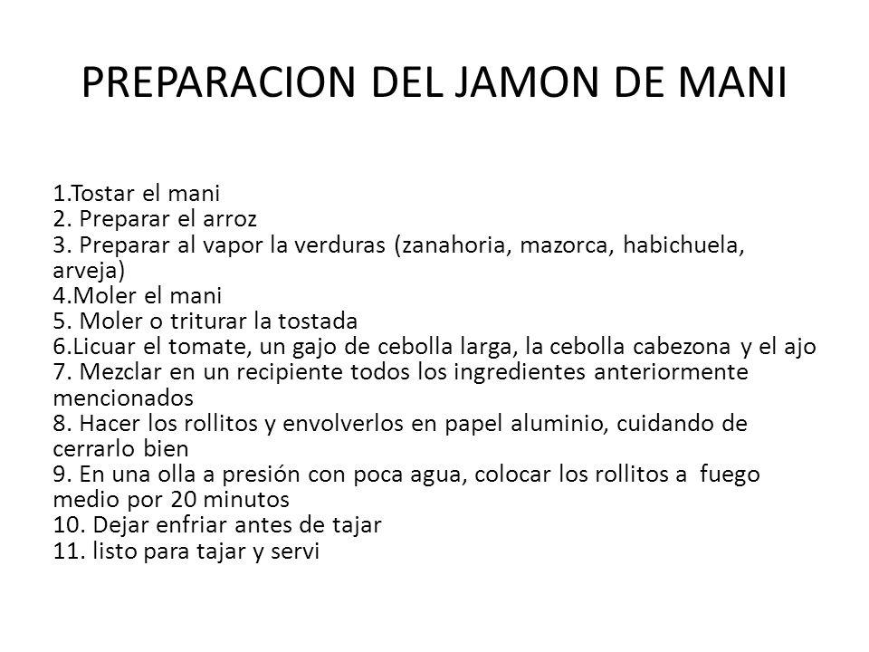 PREPARACION DEL JAMON DE MANI