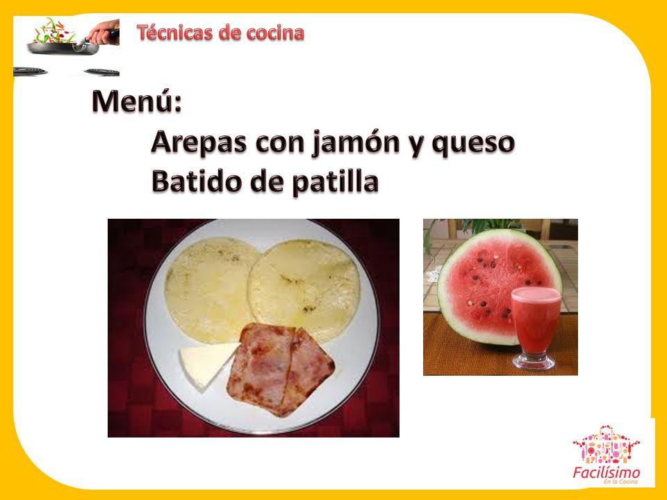 Arepas con jamón y queso Batido de patilla