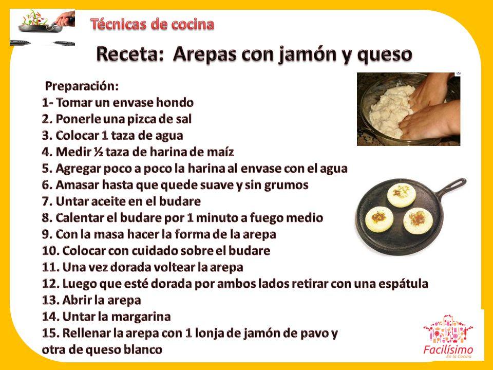 Receta: Arepas con jamón y queso