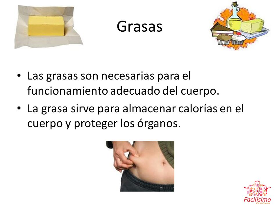 Grasas Las grasas son necesarias para el funcionamiento adecuado del cuerpo.
