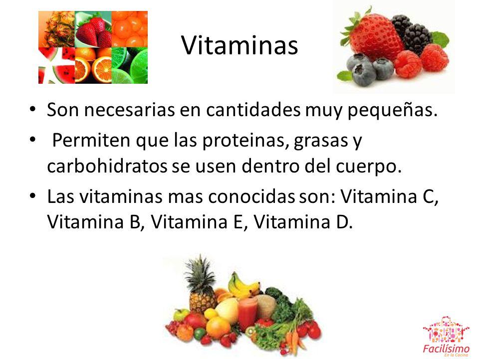 Vitaminas Son necesarias en cantidades muy pequeñas.