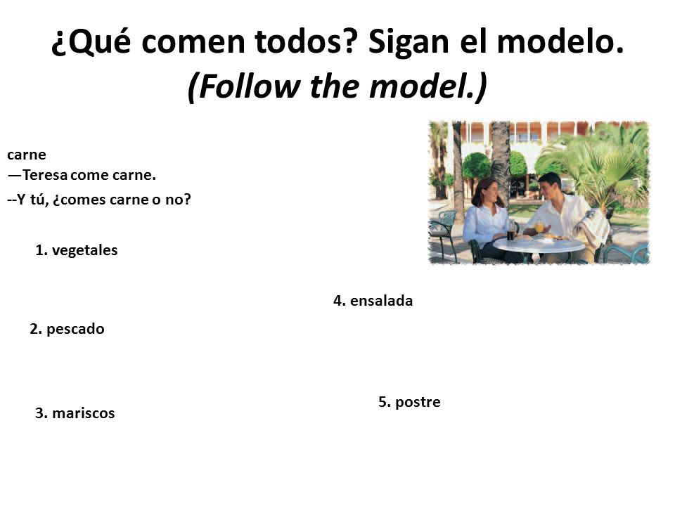 ¿Qué comen todos Sigan el modelo. (Follow the model.)
