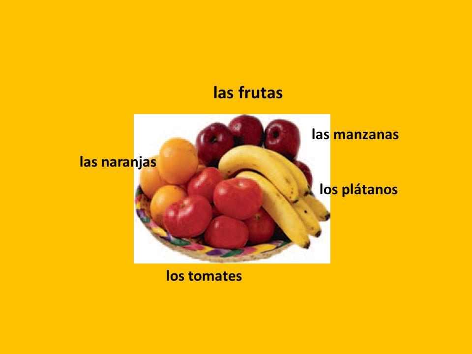 las frutas las manzanas las naranjas los plátanos los tomates