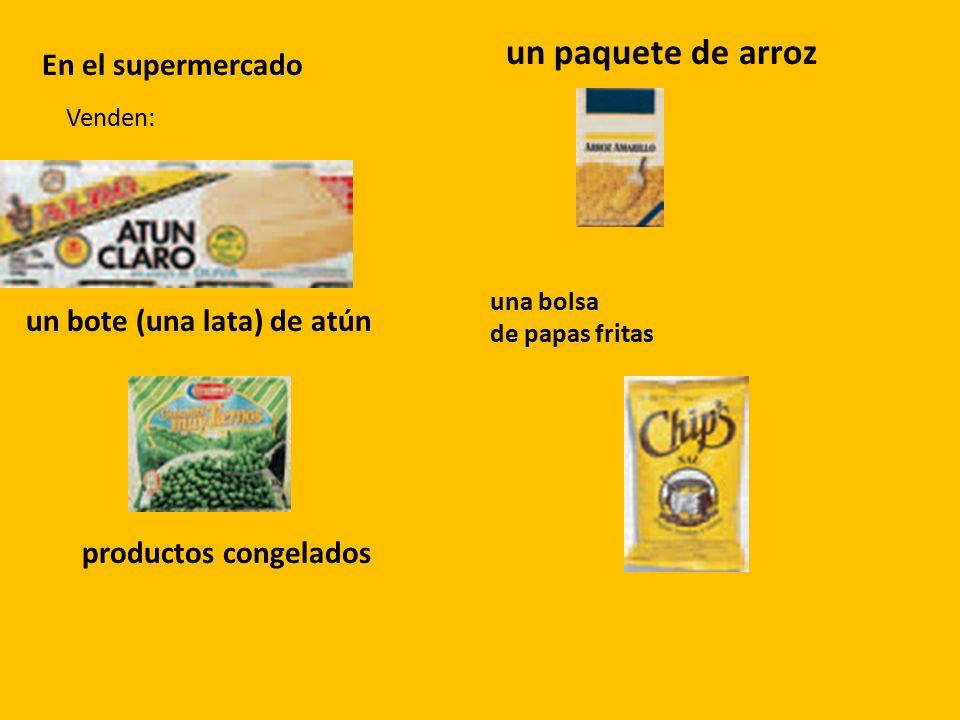 un paquete de arroz En el supermercado un bote (una lata) de atún