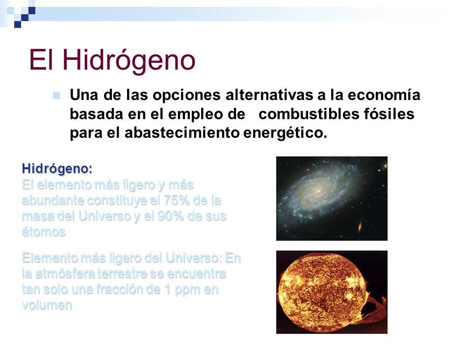 El Hidrógeno Una de las opciones alternativas a la economía basada en el empleo de combustibles fósiles para el abastecimiento energético.