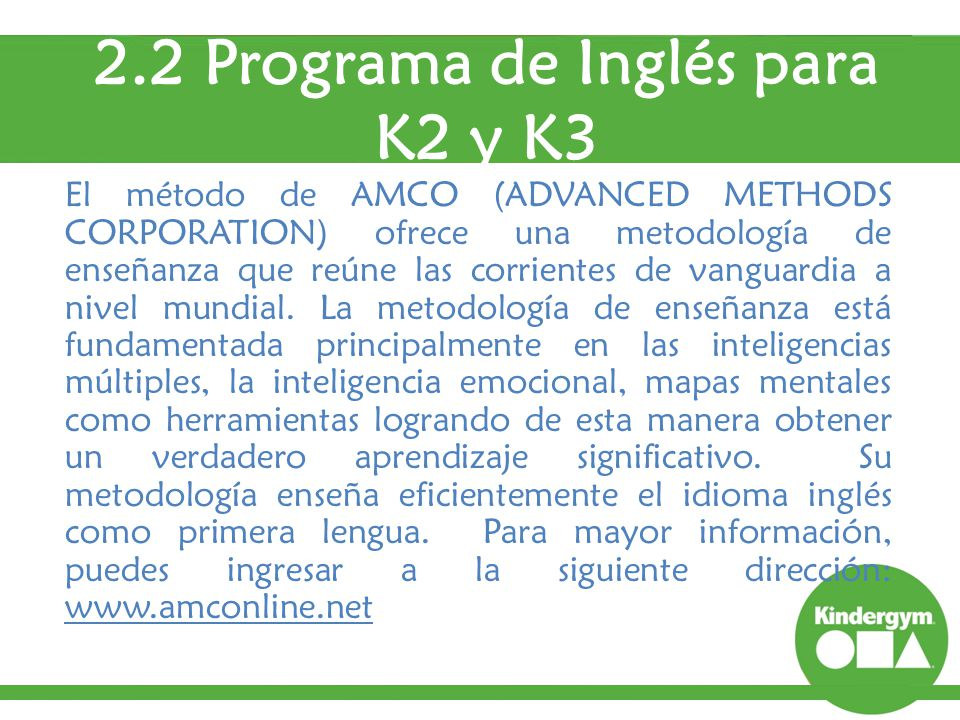2.2 Programa de Inglés para K2 y K3