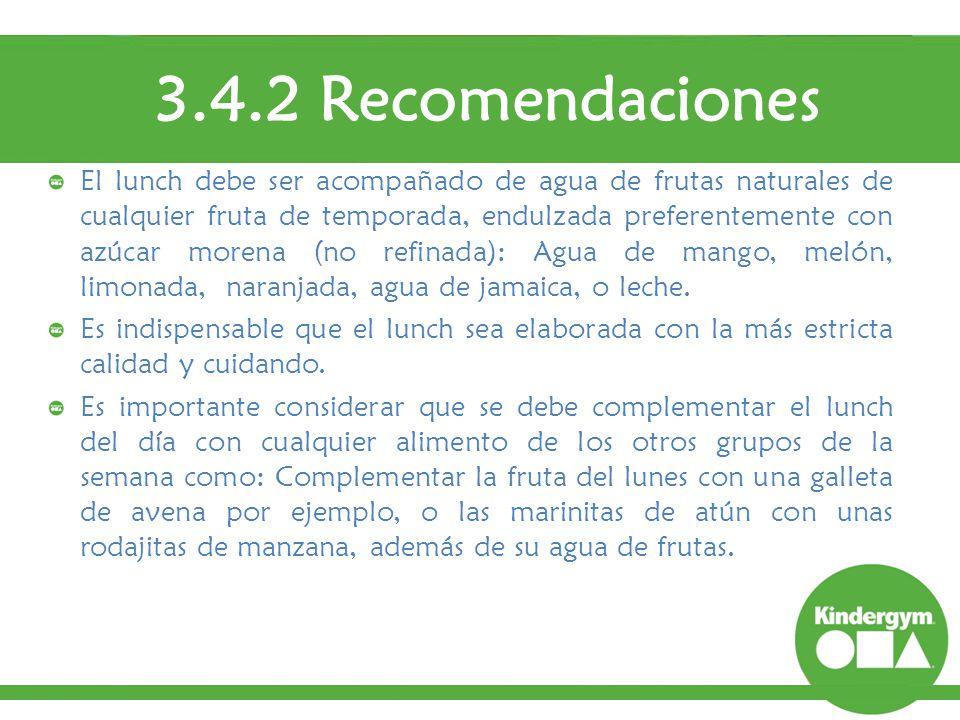 3.4.2 Recomendaciones