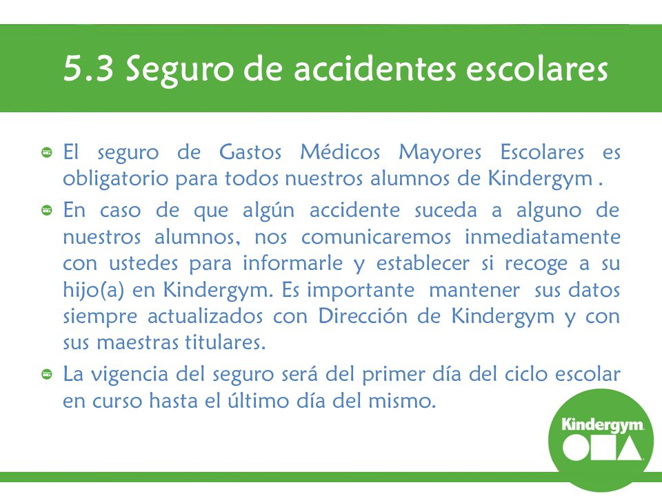 5.3 Seguro de accidentes escolares
