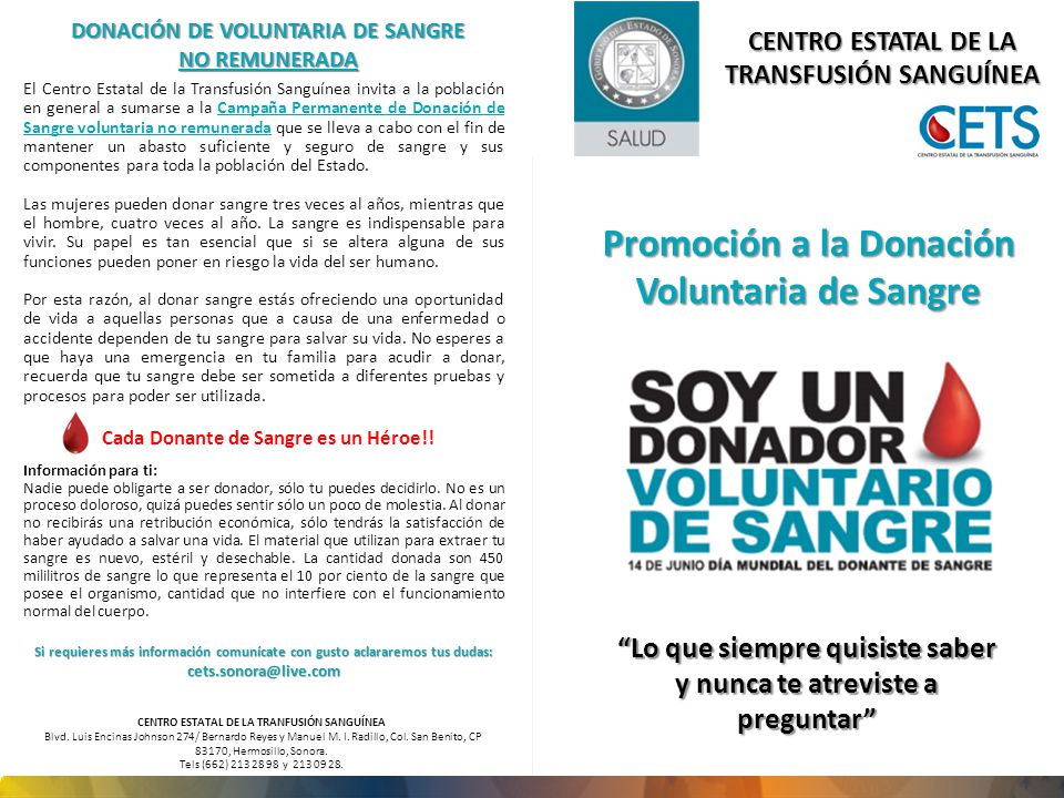 Promoción a la Donación Voluntaria de Sangre