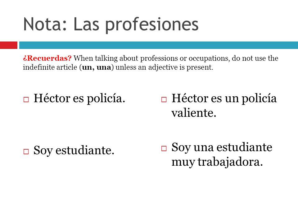 Nota: Las profesiones Héctor es policía. Soy estudiante.