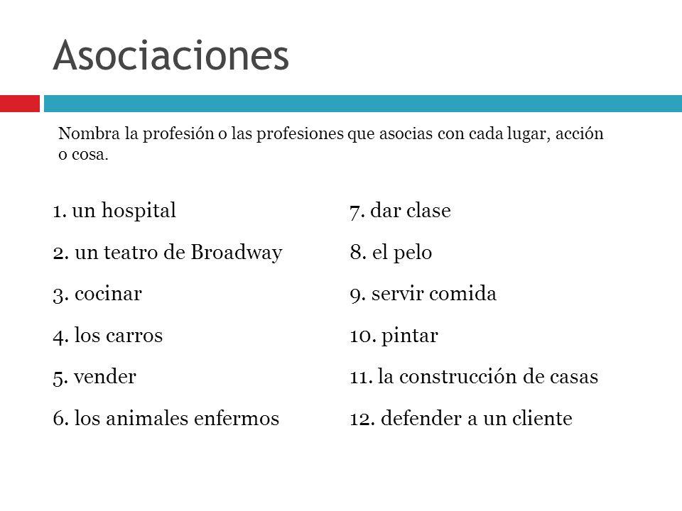 Asociaciones 1. un hospital 7. dar clase 2. un teatro de Broadway
