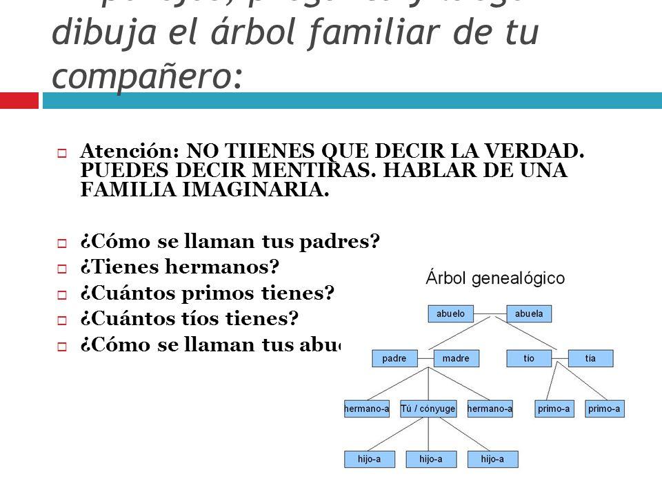 En parejas, pregunta y luego dibuja el árbol familiar de tu compañero: