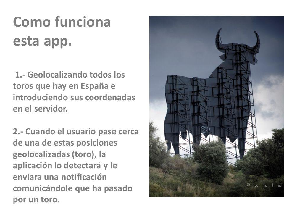 23/11/10 Como funciona esta app. 1.- Geolocalizando todos los toros que hay en España e introduciendo sus coordenadas en el servidor.