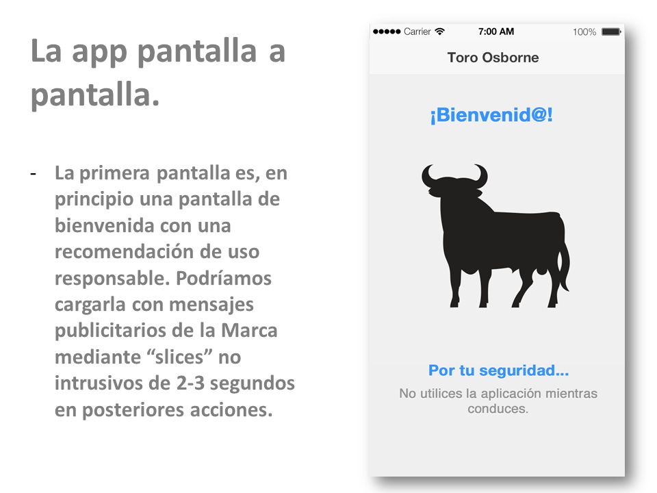 La app pantalla a pantalla.