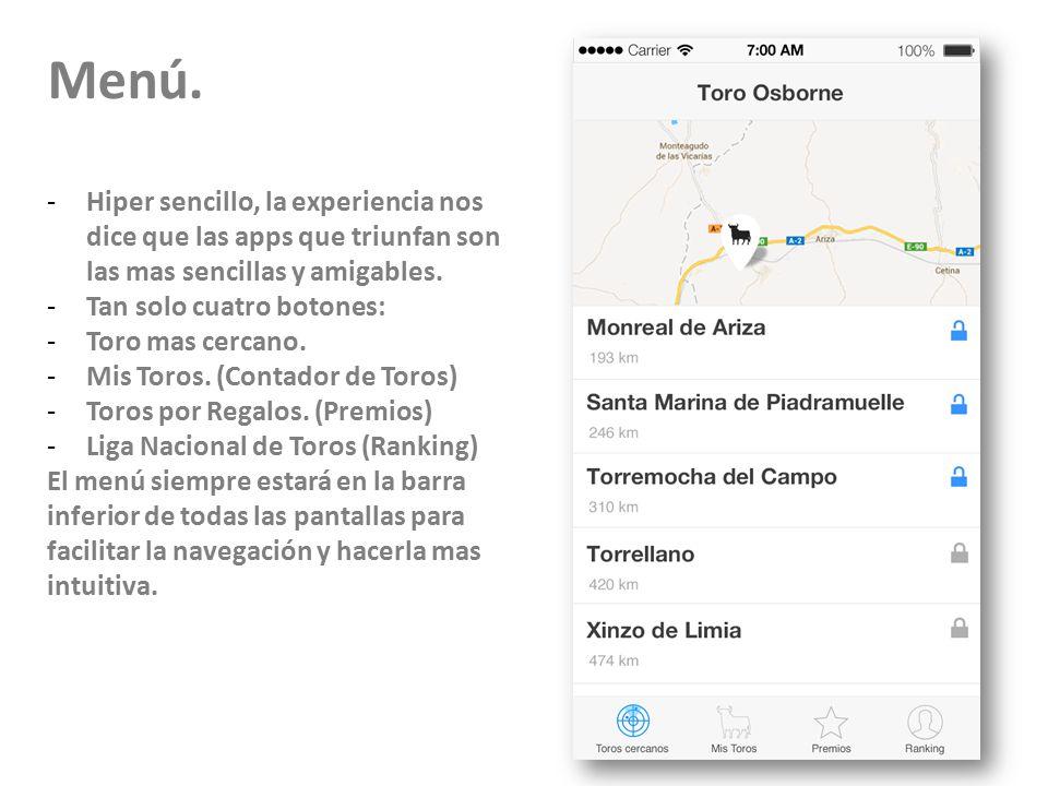 23/11/10 Menú. Hiper sencillo, la experiencia nos dice que las apps que triunfan son las mas sencillas y amigables.