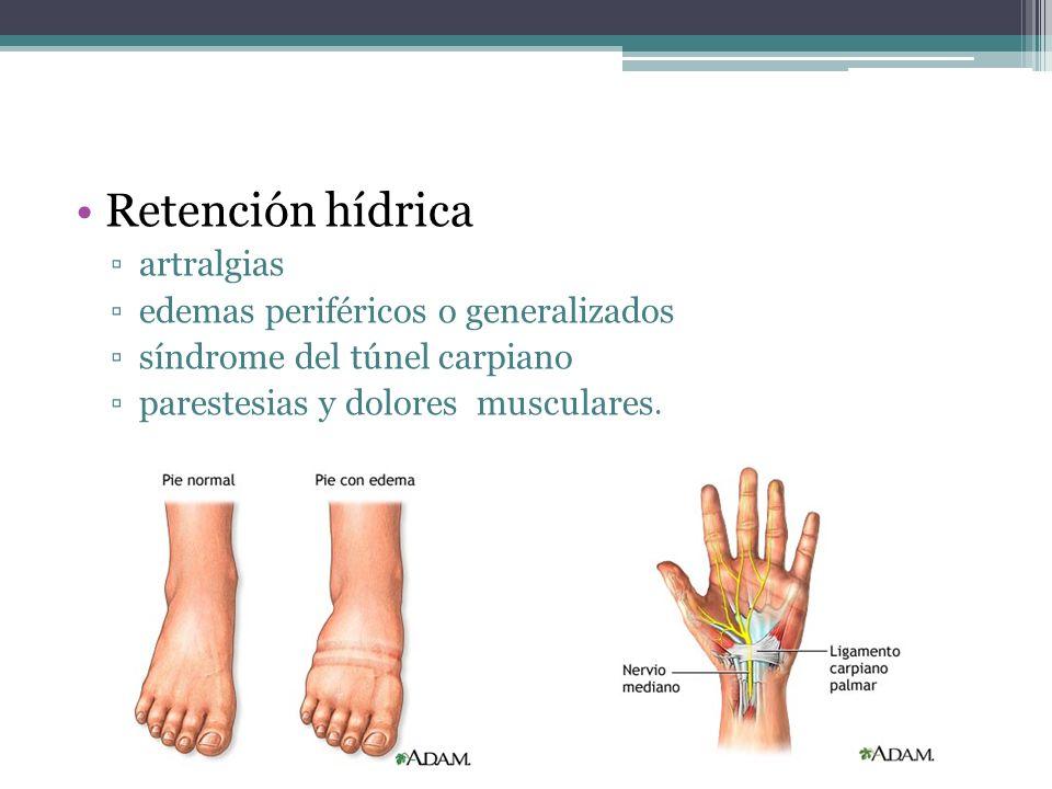 Retención hídrica artralgias edemas periféricos o generalizados