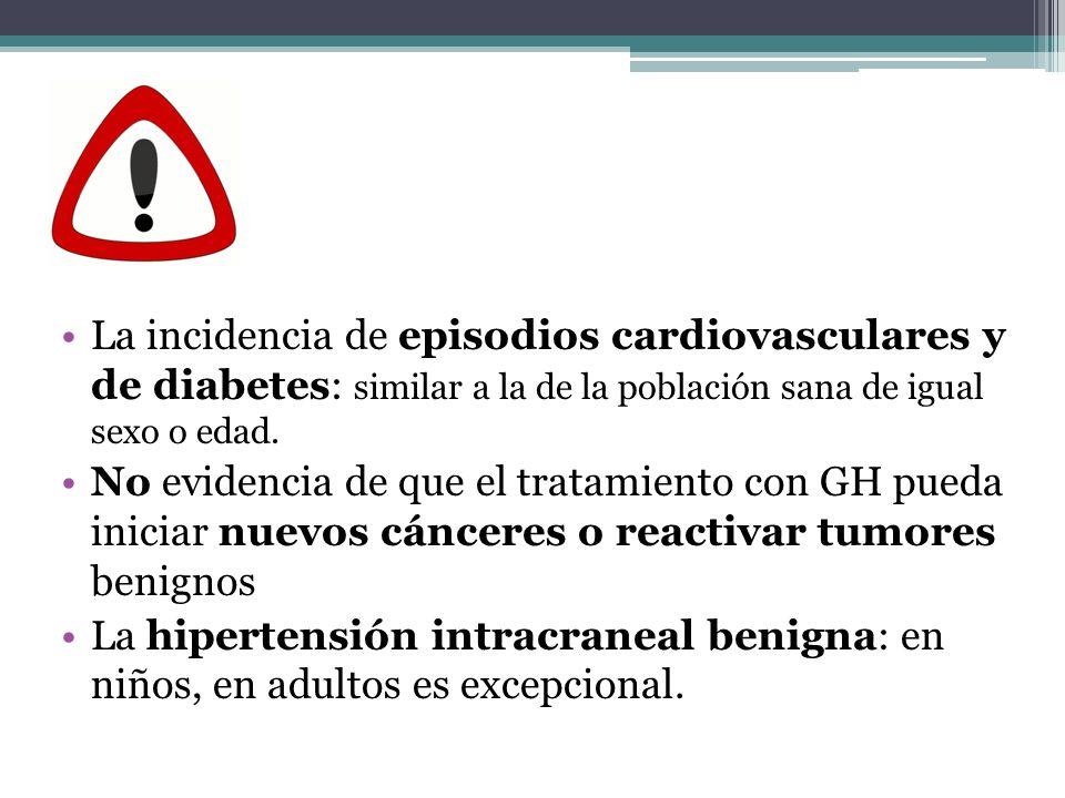 La incidencia de episodios cardiovasculares y de diabetes: similar a la de la población sana de igual sexo o edad.