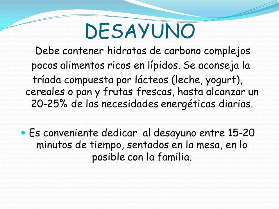 DESAYUNO Debe contener hidratos de carbono complejos