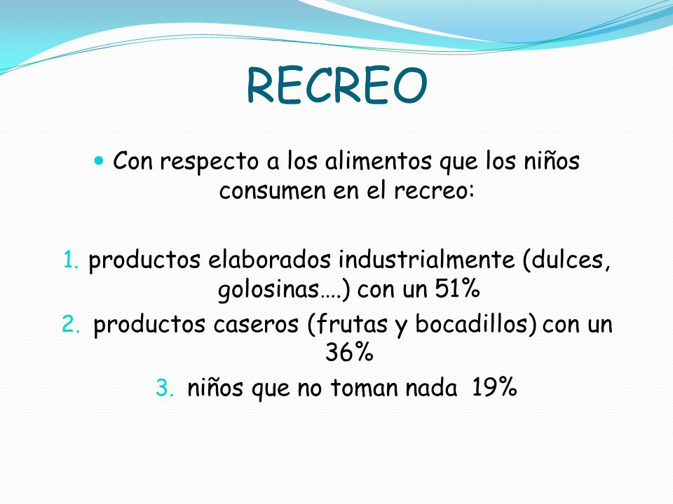 RECREO Con respecto a los alimentos que los niños consumen en el recreo: productos elaborados industrialmente (dulces, golosinas….) con un 51%