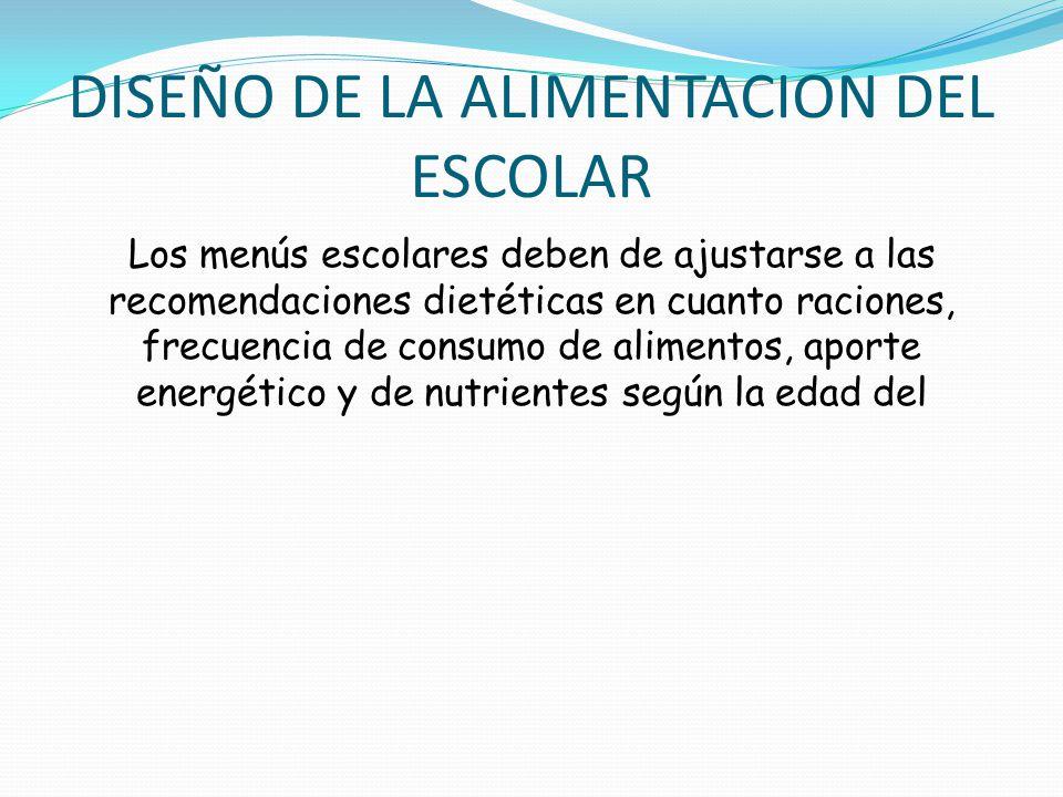 DISEÑO DE LA ALIMENTACION DEL ESCOLAR