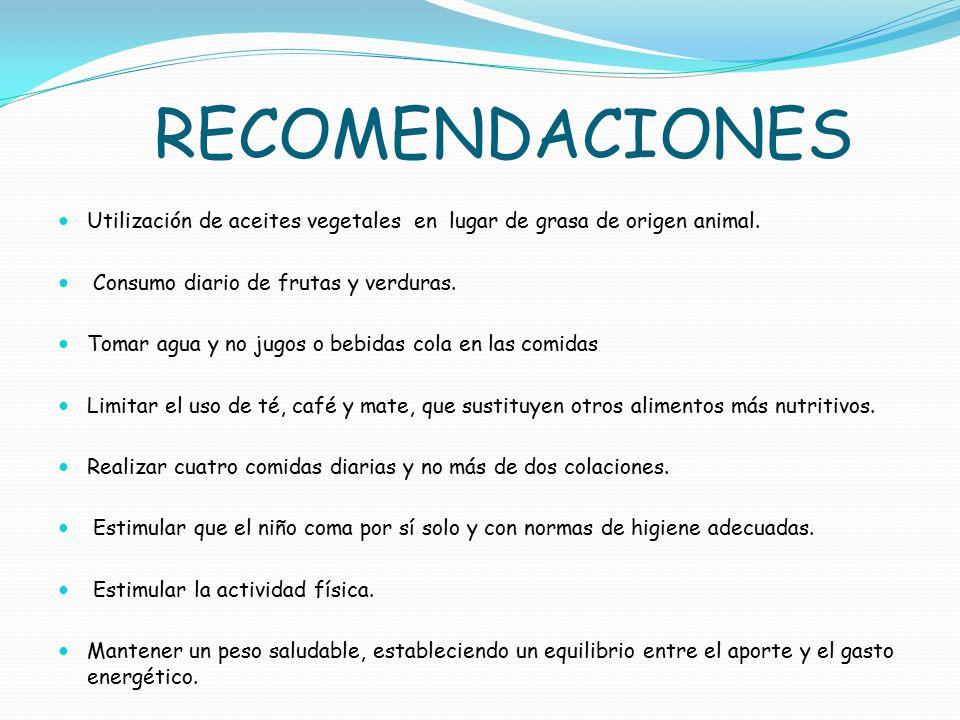 RECOMENDACIONES Utilización de aceites vegetales en lugar de grasa de origen animal. Consumo diario de frutas y verduras.