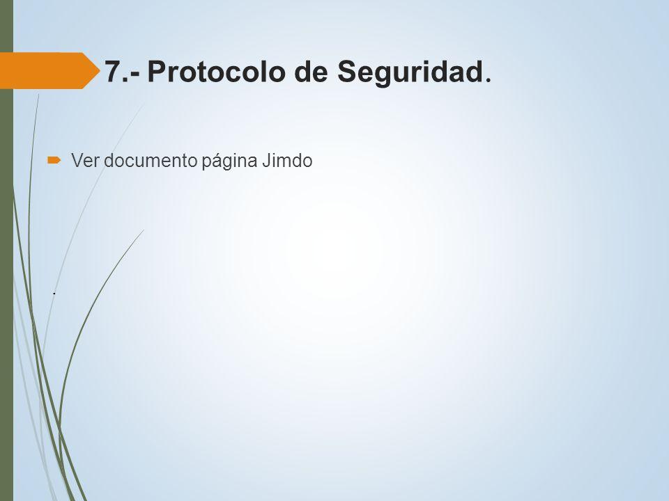 7.- Protocolo de Seguridad.